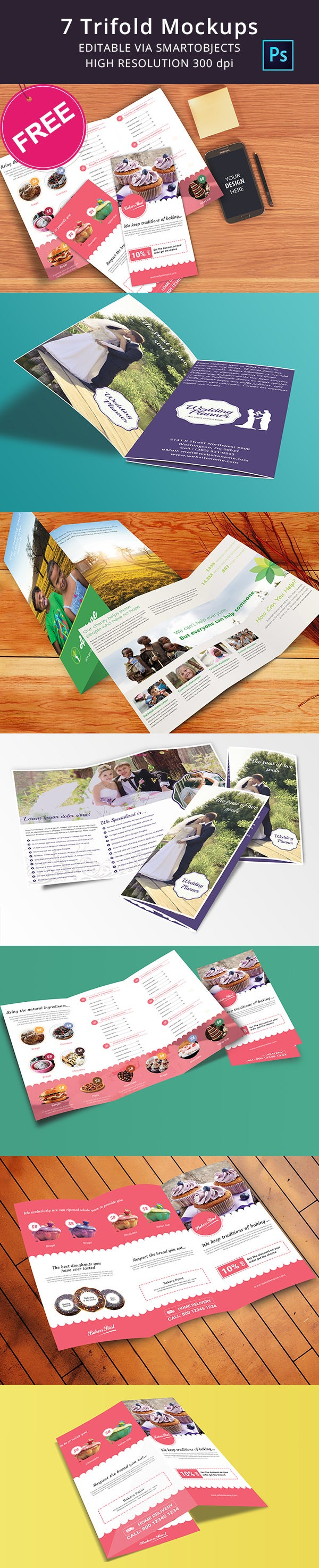 Free Download Tri Fold Mockup Templates