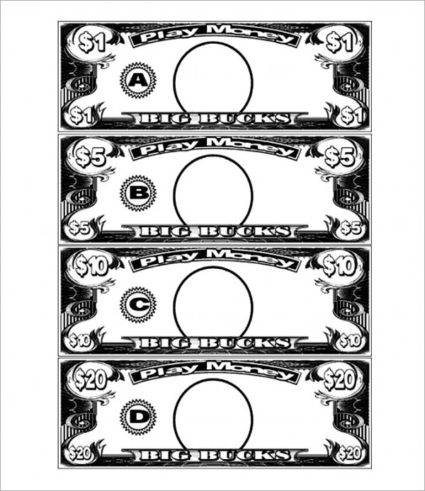Play money template free premium templates for Classroom bucks template