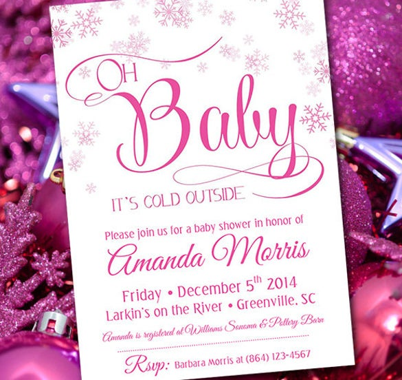 pink snowflake invitation winter wonderland baby girl shower