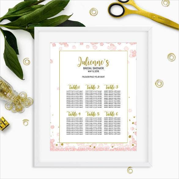 bridal shower seating chart template 34 wedding seating chart templates pdf doc free