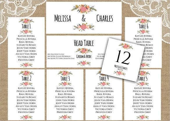 Wedding Table Chart