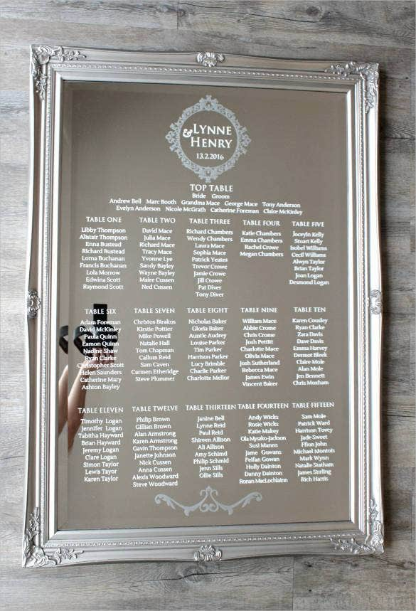 Wedding seating chart template 34 examples in pdf word for Table design names