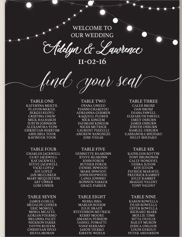 Wedding Seating Chart Example