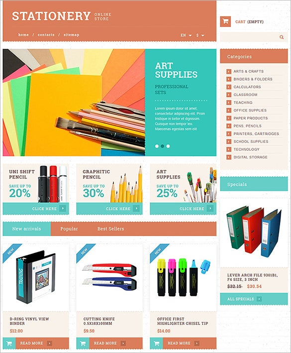 stationery business prestashop them