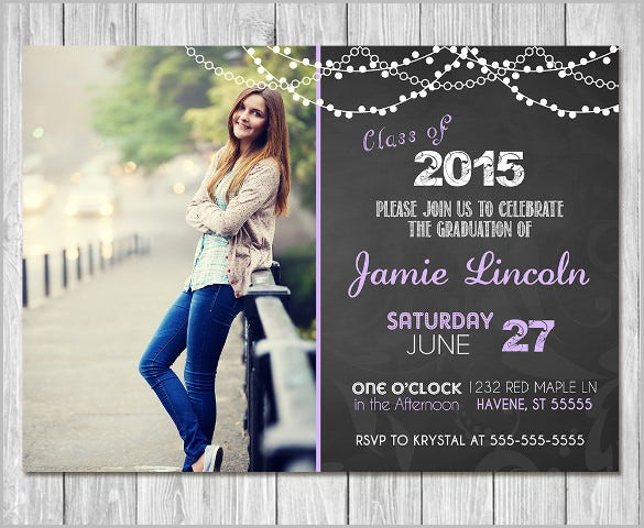 Printable Graduation Invitation Chalkboard Unique Invite Photo Free