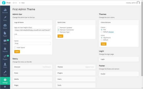 WordPress Admin Theme $15