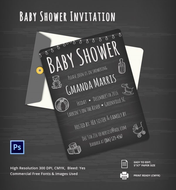 Chalkboard Baby Shower Invitation