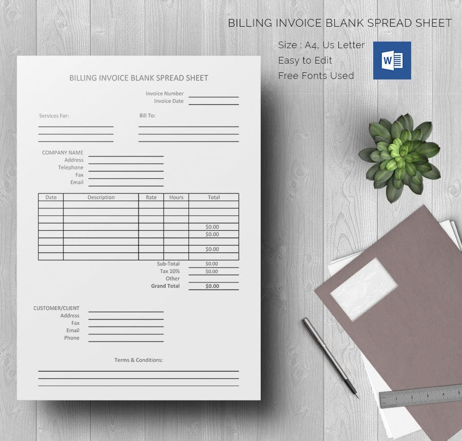 Blank Spreadsheet Template 21 Free Word Excel PDF Documents – Billing Spreadsheet Template