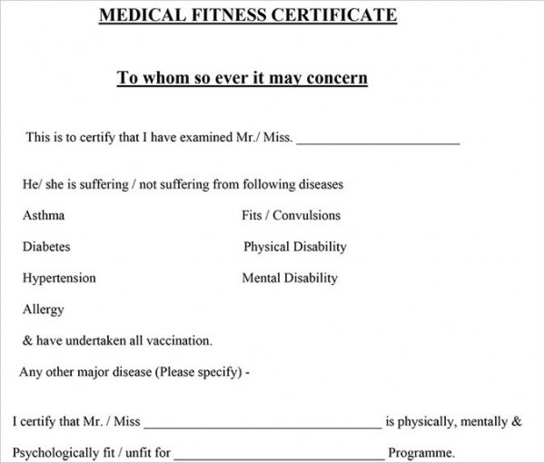 Medical Fitness Certificate Free