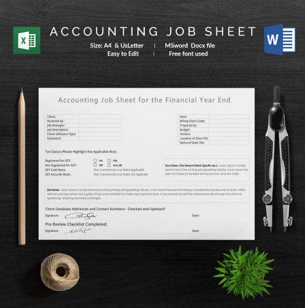 Accounting Job Sheet Template