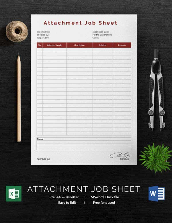 Attachment Job Sheet Template