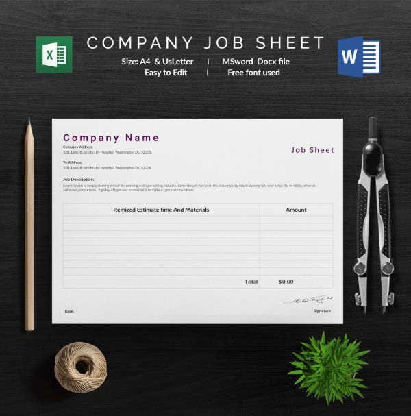 Company Job Sheet Template