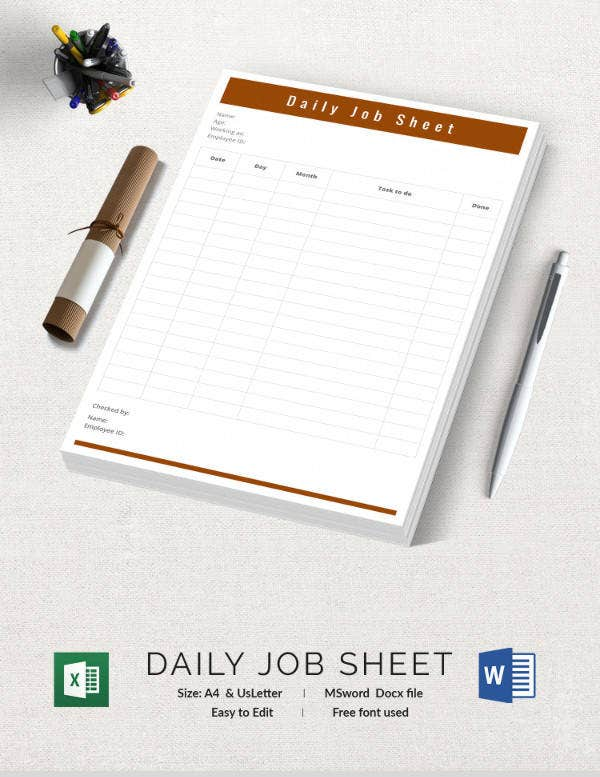 Doc717555 Job Sheets Templates Excel Sample Job sheet – Job Sheet Format Excel