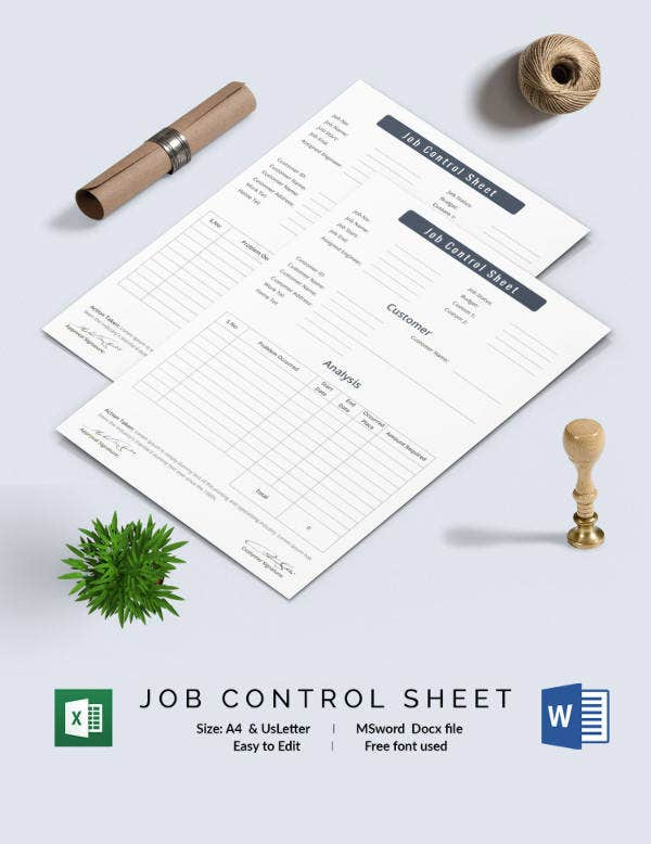 Job Control Sheet Template