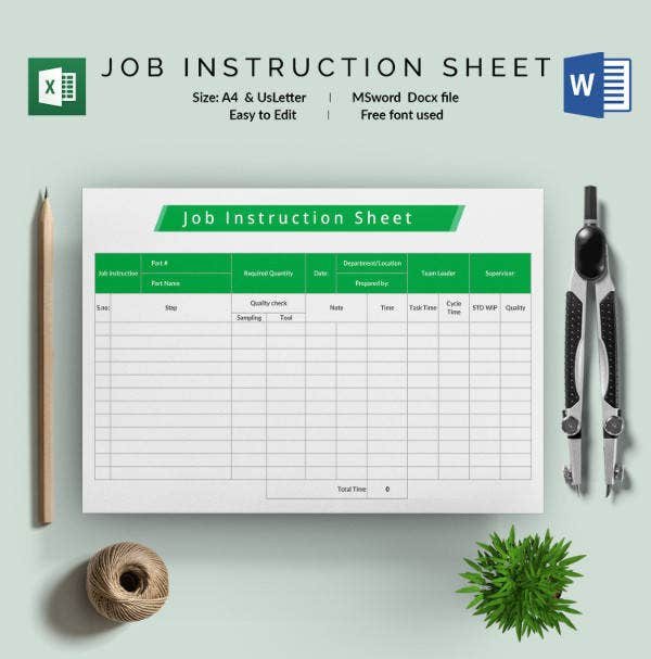 Job Instruction Sheet Template