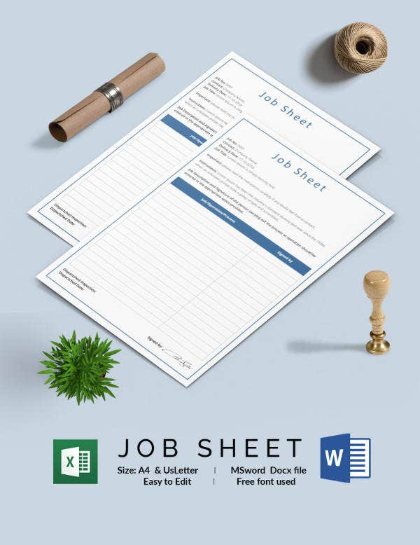 Sample Job Sheet Template Download