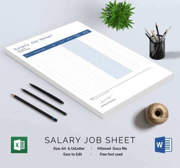 Salary Job Sheet Template