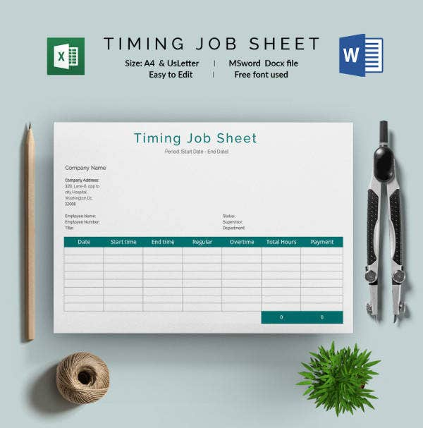 Job Timing Sheet Template