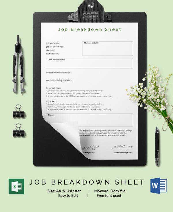 Job Breakdown Sheet Template