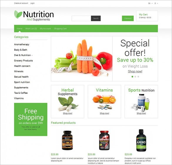 responsive nutrition store opencart template1