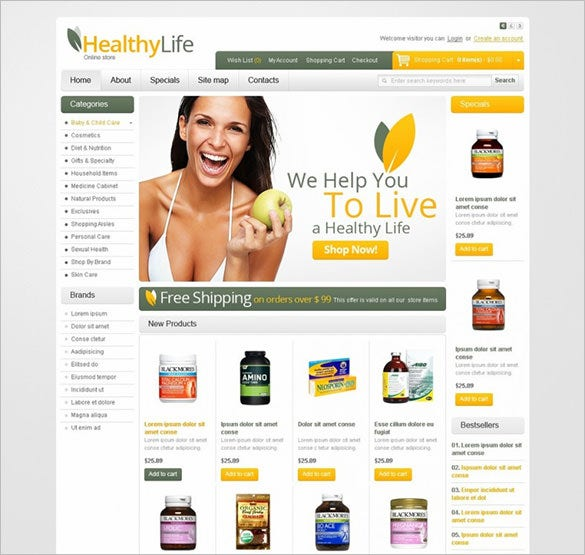 health products opencart template1
