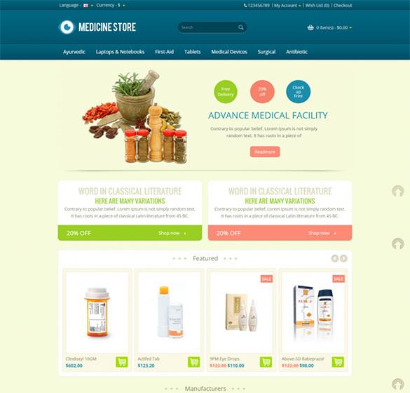 premium pharmacy opencart template