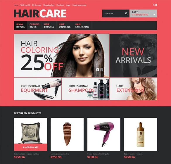responsive opencart template for hair care store1