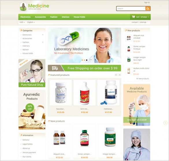 medicine store opencart theme