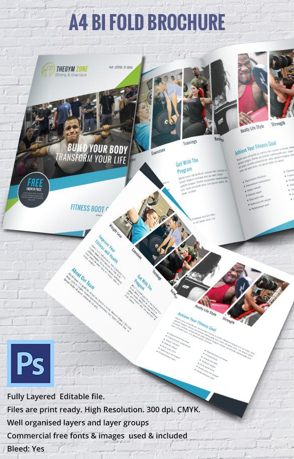 19 bi fold brochure templates free word pdf psd eps for Bi fold brochure template indesign free