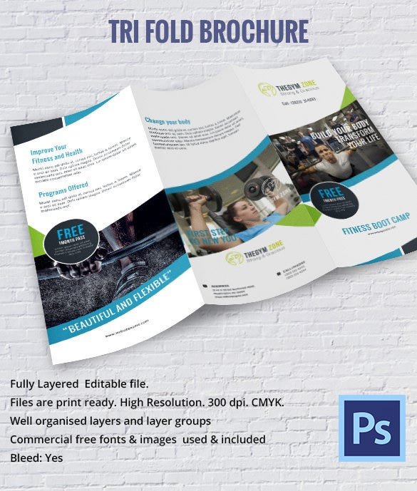 Health GYM Fitness Tri Fold Brochure To Print  Microsoft Tri Fold Brochure Template Free