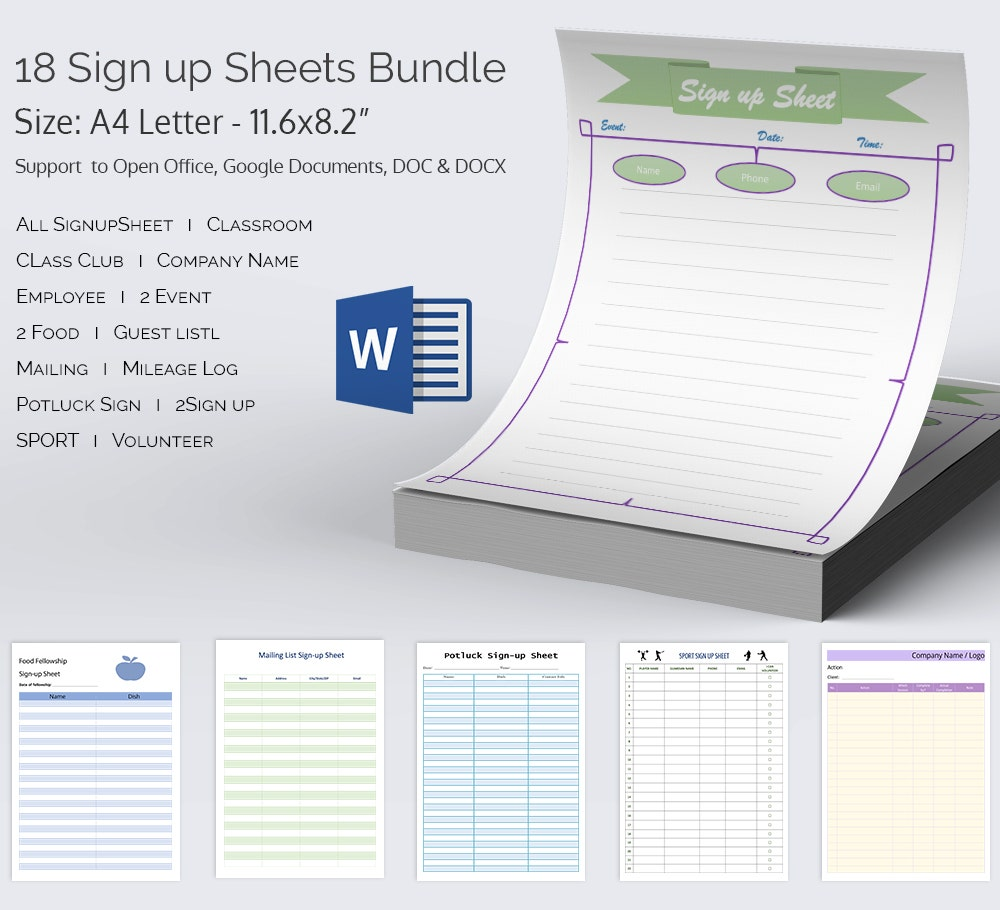 Sign Up Sheets Bundle Template