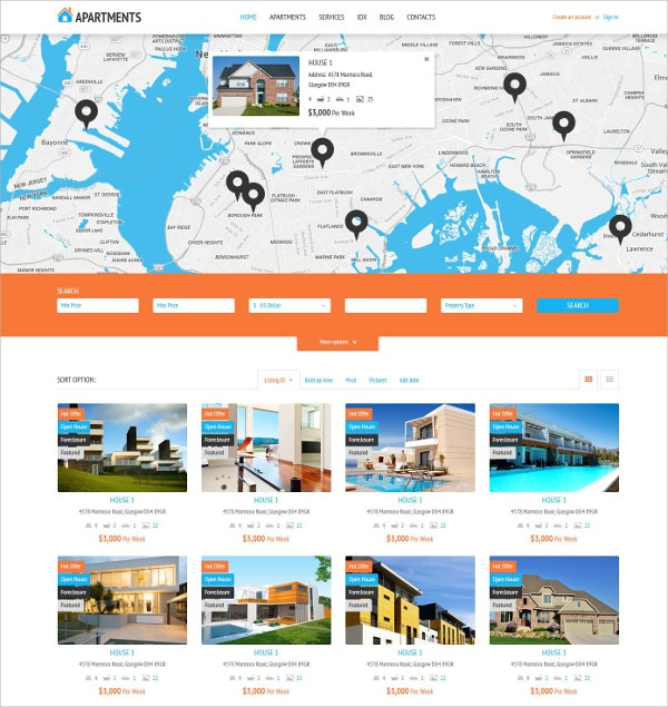 Sales Page Rent Agency WordPress Theme $45