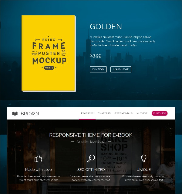 Responsive Sales Page WordPress Theme $44