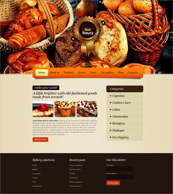 best bakery website theme
