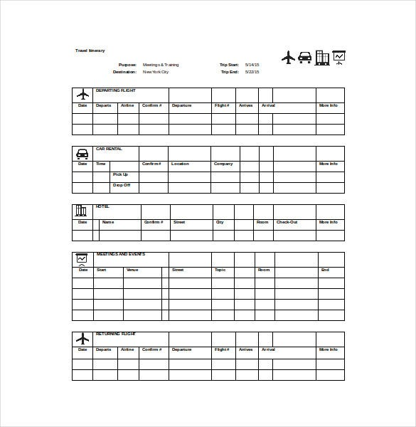 travel itinerary spreadsheet free download
