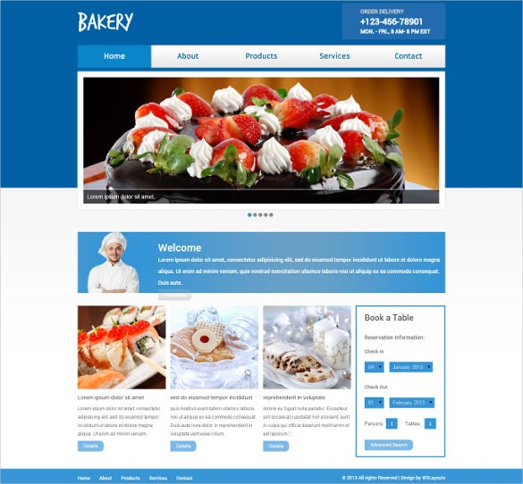 free bakery website template