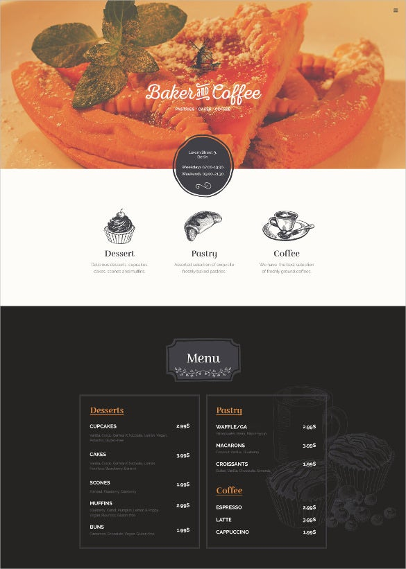 baker coffee html website template