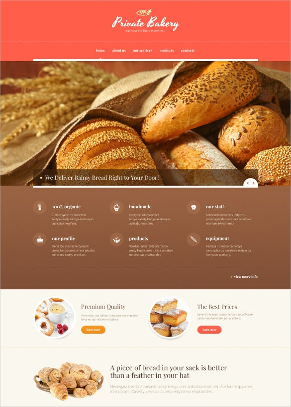 responsive bakery website template