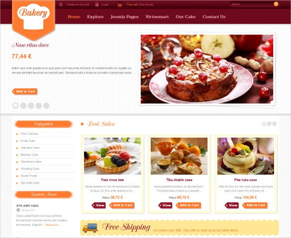 bakery joomla website template