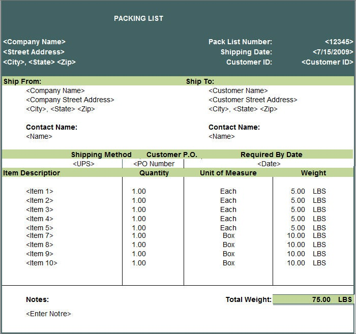 Packing List Free Download  Packing List Sample
