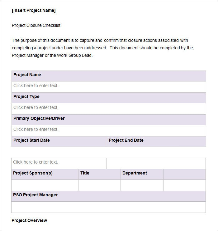 construction project closeout template Project Checklist Template - 11  Free Word, PDF Documents Download ...