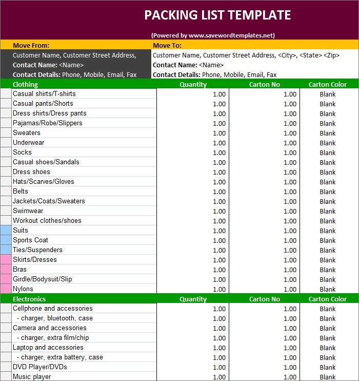 Packing List Template   Free Templates  Free  Premium Templates