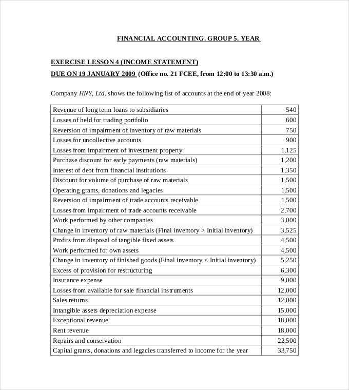 5 year financial income statement template