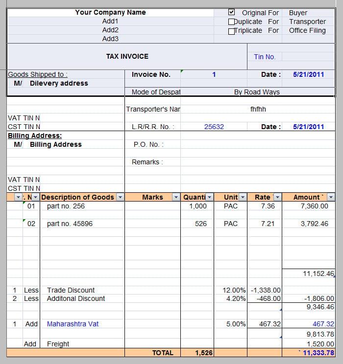 tax invoice template pdf