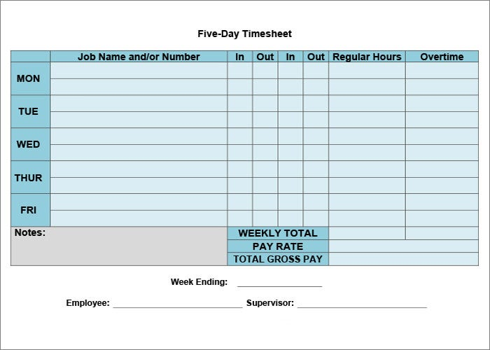 Sample Time Sheet - Ex