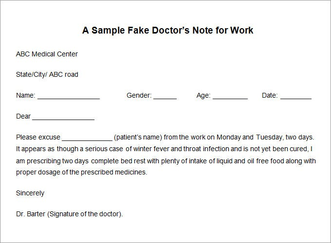 Doctors Excuse Template Pdf Download fake doctor's note template pdf ...