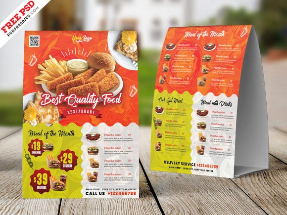 a4 size restaurant table tent card psd