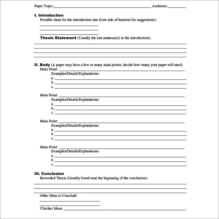 Outline Templates  Free Sample Example Format Download  Free