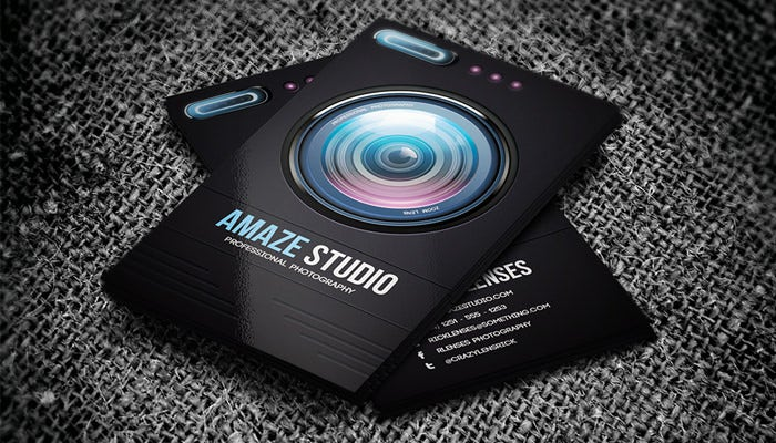 52 photography business cards free download free premium templates amaze studio photographer lens business card accmission Image collections