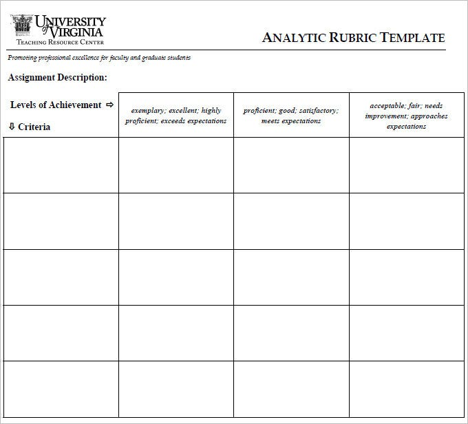 Blank rubric template 6 free printable pdf word excel format